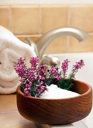 Epsom salt in wooden bowl - great for space clearing in the home and use in bath for clearing your body of toxins physically and mentally