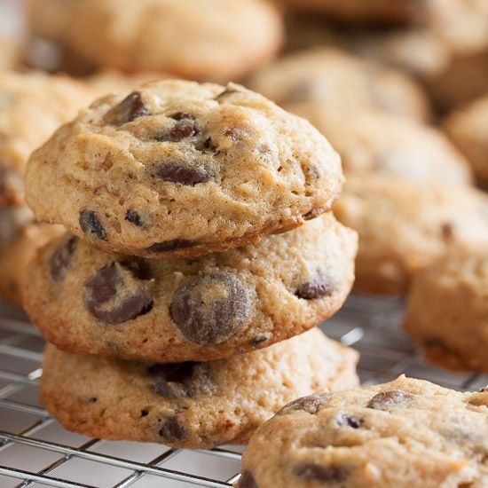 Sour Cream Chocolate Chip Cookies – soft and fluffy and moist, and absolutely loaded with chocolate chips.