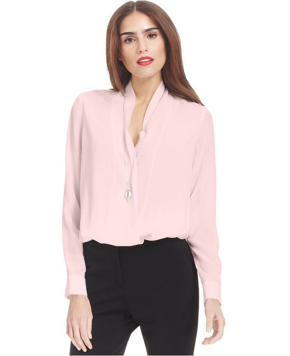 A Pastel Pink Blouse for Work Bar III high-low pullover blouse, $69, macys.com