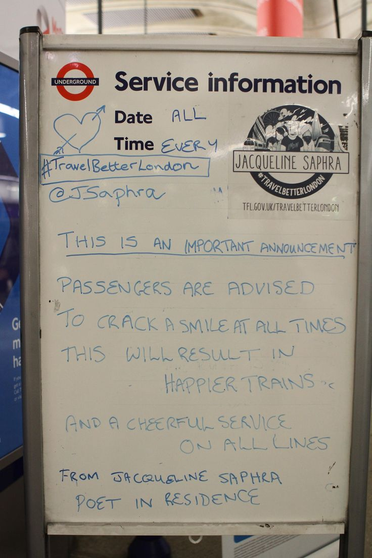 THIS IS AN IMPORTANT ANNOUNCEMENT Passengers are advised to crack a smile at all times This will result in happier trains And a cheerful ser...