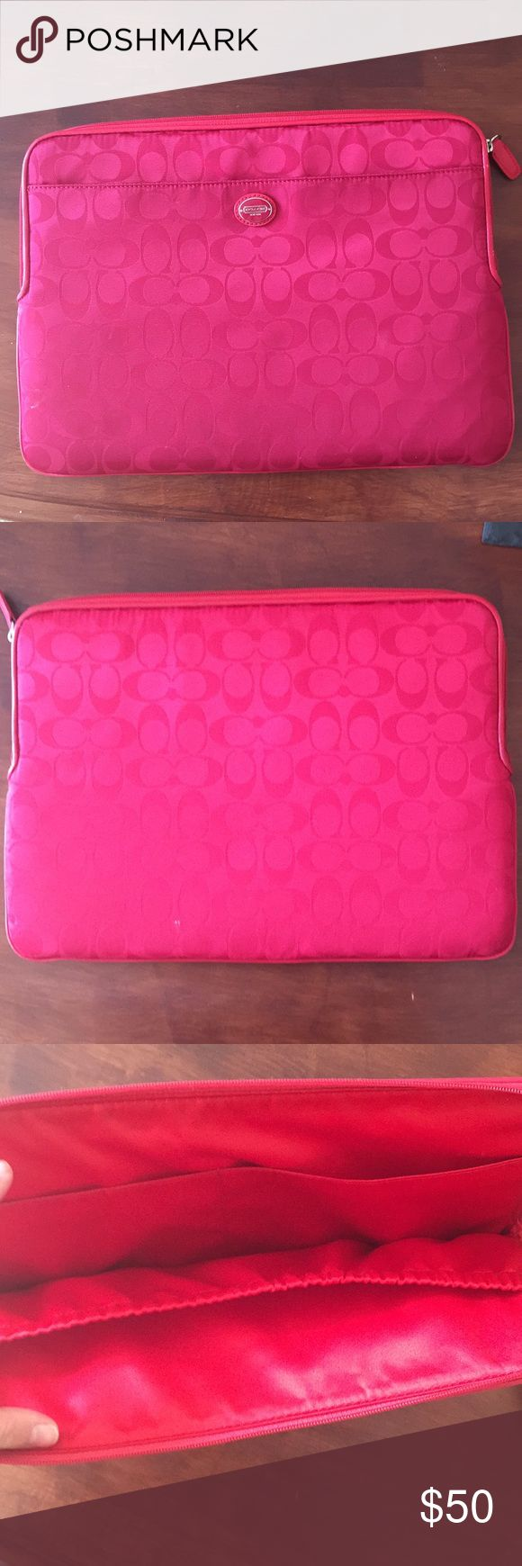 "Coach red laptop case Best price on the market! Little to no wear. Fits 13"" computers perfectly. It is very protective, 1/4"" thick padding all around. It has the distinctive coach ""c"" pattern Coach Accessories Laptop Cases"