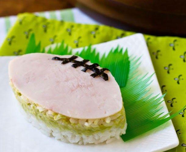 25 Big Game Appetizers: Turkey and Avocado Onigiri Footballs by La Fuji Mama