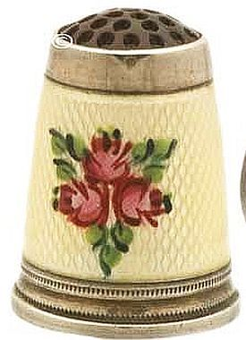Fabulous Guilloche Enameled Thimble  C.1900s.