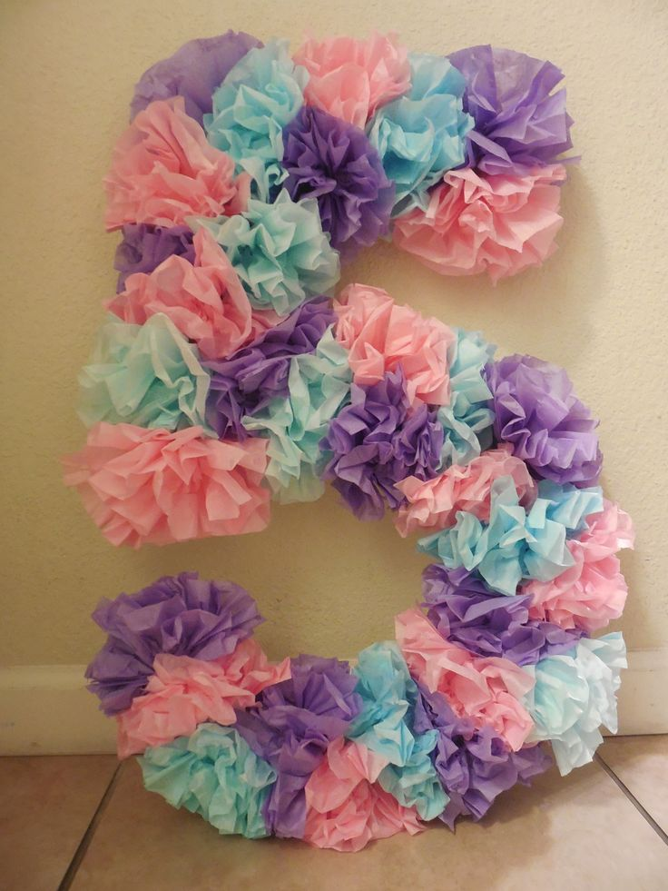 Tissue paper birthday number, use different colors and googly eyes to make it look like little monsters