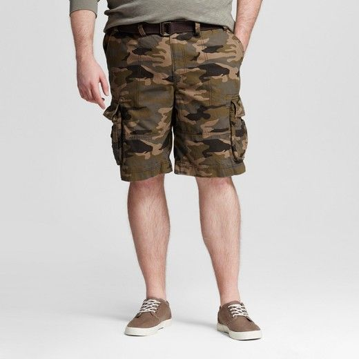 """100% cotton fabric offers sturdy and lightweight comfort. Mid rise has a trendy look and a comfortable feel. Cargo pockets provide convenient storage for small items. Model wears size 40 and is 6' 3.5"""". Slide into comfortable appeal with the Men's Big & Tall Belted Camo Cargo Shorts from Mossimo Supply Co. The 100% cotton canvas weave is durable yet cozy, with rugged style to suit your size."""
