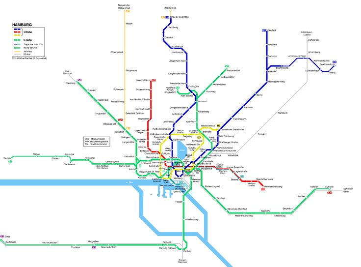 UrbanRail.Net - Hamburg U-Bahn / S-Bahn Network Map