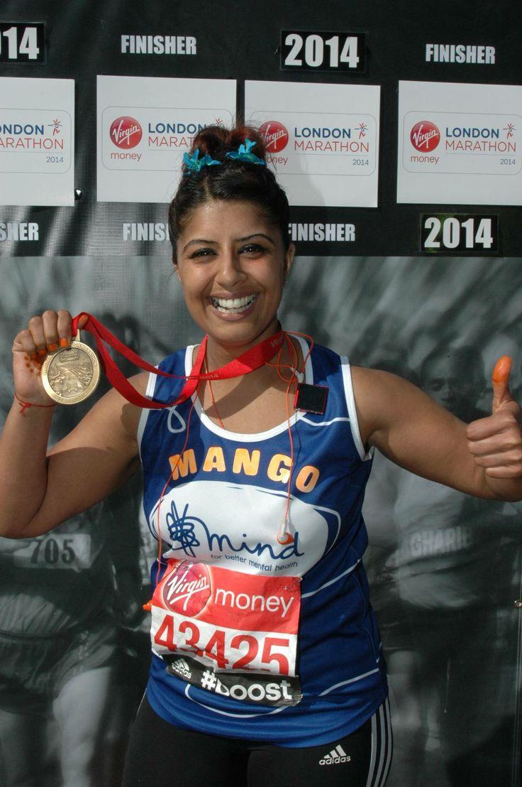 Manjinder Raiyat with her London Marathon 2014 Medal