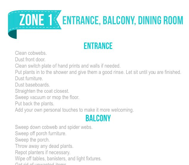 Fly Lady Zone Routine Free Printable