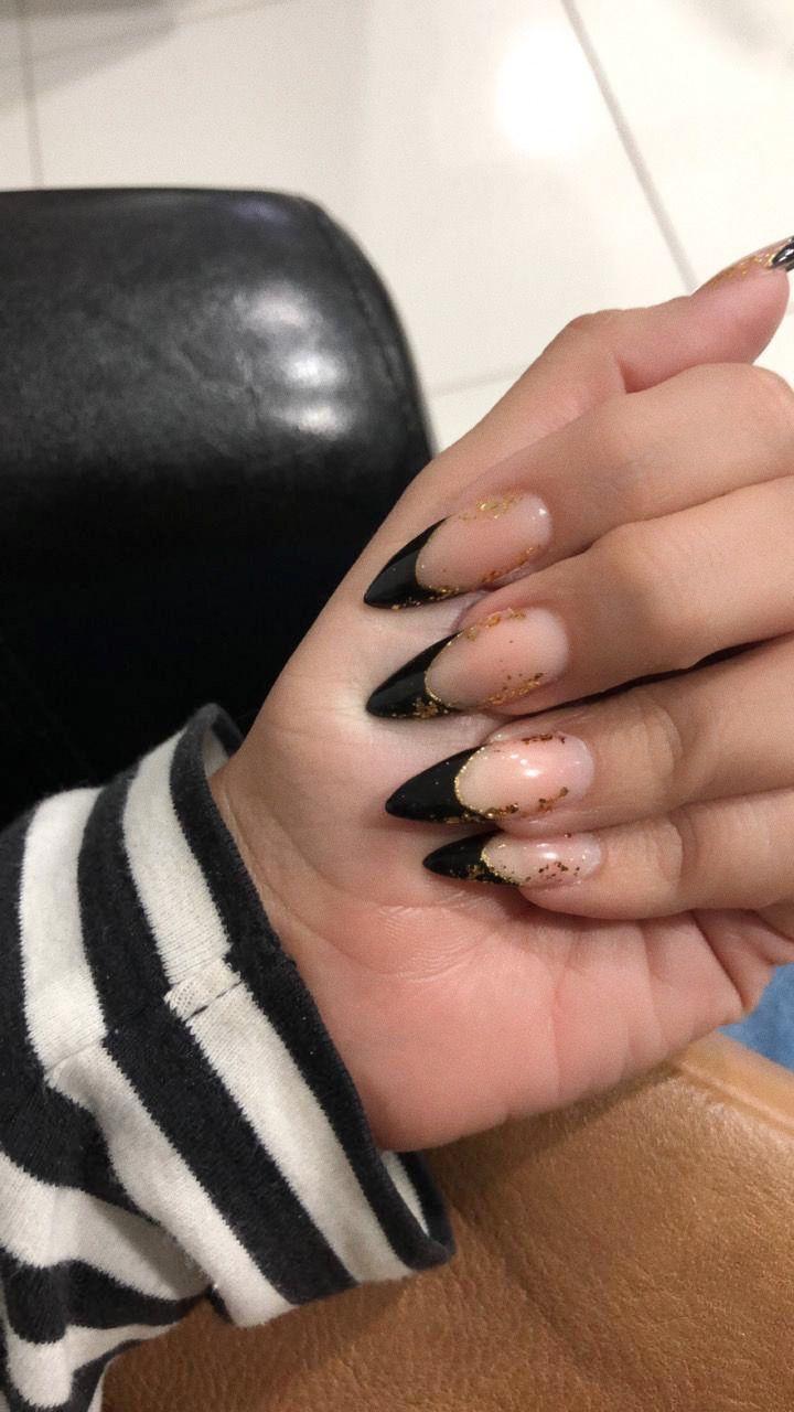 Black French Tips Stiletto Black French Nails Stiletto Nails Elegant Nails French
