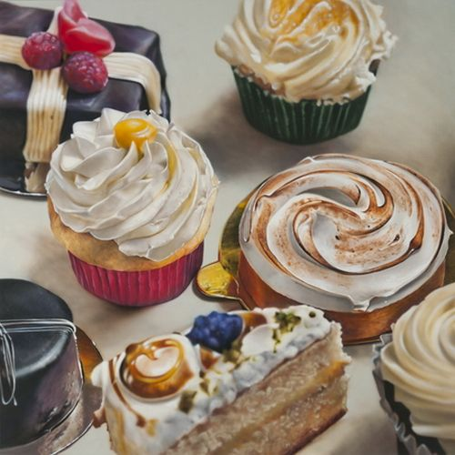 Realistic Still Life Paintings Of Coffee And Cake