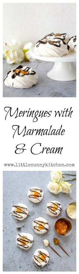 Sweet meringues filled with fresh clotted cream, orange marmalade and dark chocolate...