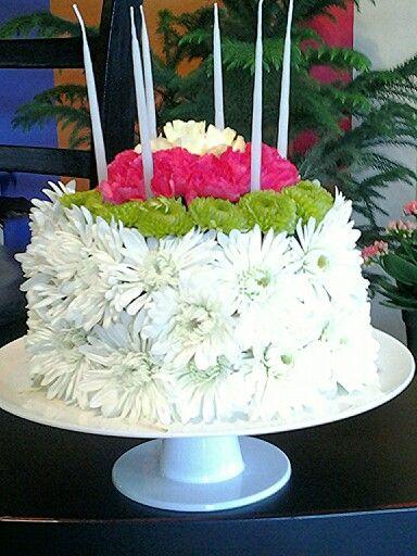 Birthday cake made of flowers.