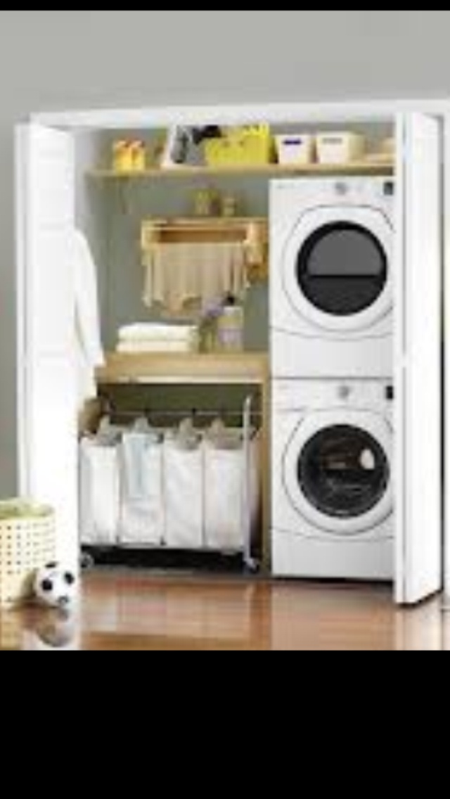 Laundry closet ideas. i could do this in my small bathroom upstairs.