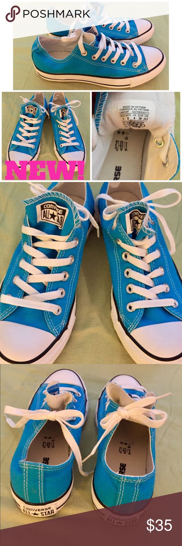 👟 NEW! CONVERSE TURQUOISE LOW TOP SNEAKERS👟 I bought these really bright turquoise colored Converse All Stars to wear this summer & unfortunately since I lost 65+lbs-I had no idea my feet would shrink as well! These have never even hit the pavement, but did try them on at the store & at my house. See pic #4 of the tag & inside as well & you can tell these are new! I no longer have the box & that's why I'm not advertising them as NWT.⭐️I AM SORRY BUT I DO NOT TRADE OR APPRECIATE LOWBALL…