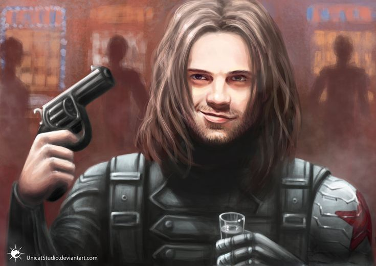 "Russian Roulette by UnicatStudio on deviantART, digital painting, ""So, you wanna play russian roulette with the russian assassin? Genius."""
