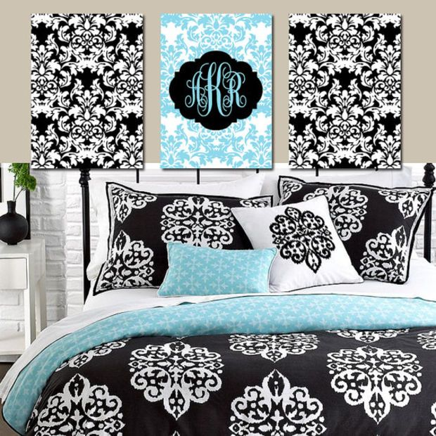 1000 ideas about damask bedroom on pinterest 2nd floor for Black white turquoise bedroom ideas
