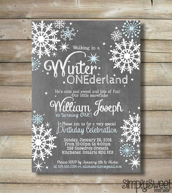 Winter ONEderland Invite Invitation Boy by SimplySweetPrintShop
