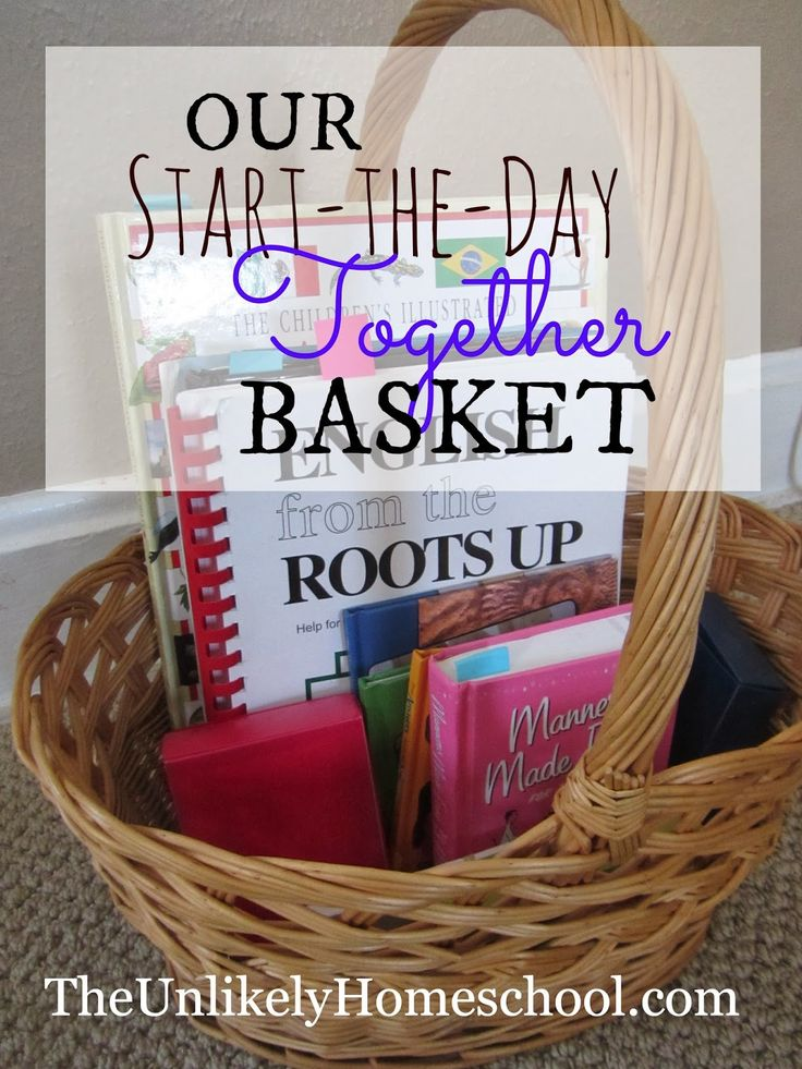 Our Start-the-Day-Together Basket-a great morning routine to unify a family of independent learners-The Unlikely Homeschool