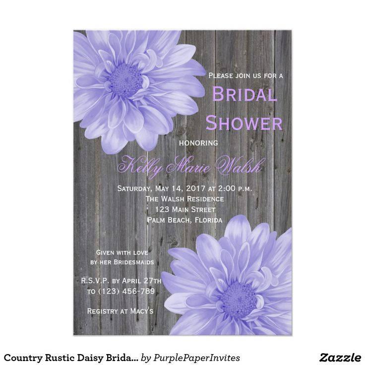 simple diy bridal shower invitations%0A Country Rustic Daisy Bridal Shower Invitation