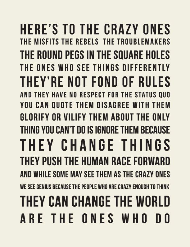 Think Different  // Inspirational Quote // Art Print // Steve Jobs. $18.00, via Etsy.