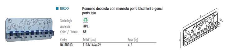 Ponte Giulio ha sviluppato un programma per avvicinare i #bambini all'uso del #bagno, fin dall'età prescolare, con prodotti divertenti e ideati a loro misura. Tra essi, oltre a #lavabi, #wc e #modulisanitario, anche una serie di #accessori tra cui il #pannello decorato con #mensola porta #bicchieri e #ganci pota telo. Il materiale utilizzato sono i #pannelli laminati HPL (High Pressure Laminates), in #resina fenolica, le misure 1198x146x499. Il colore è il celeste birdo.