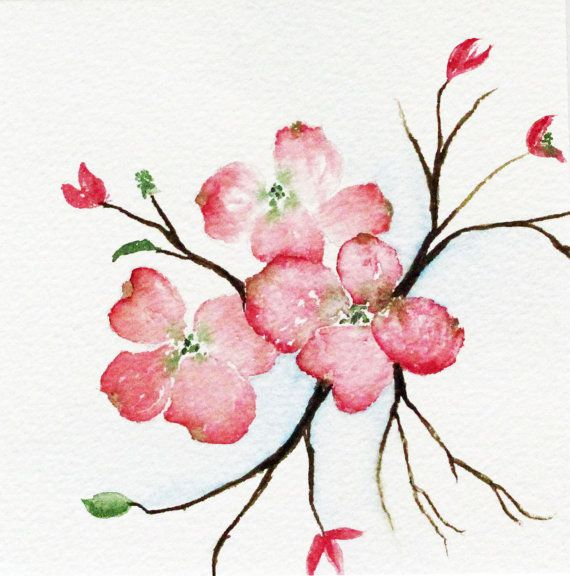 painting watercolor original pink dogwood tree by SheShell on Etsy, $25.00
