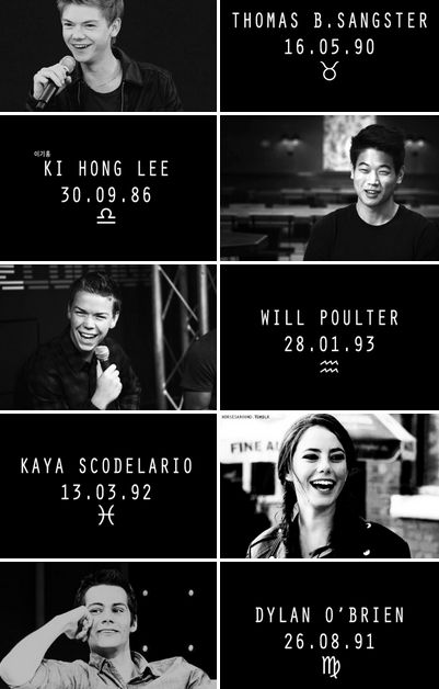 The Maze Runner Cast + Birthdays and their Signs