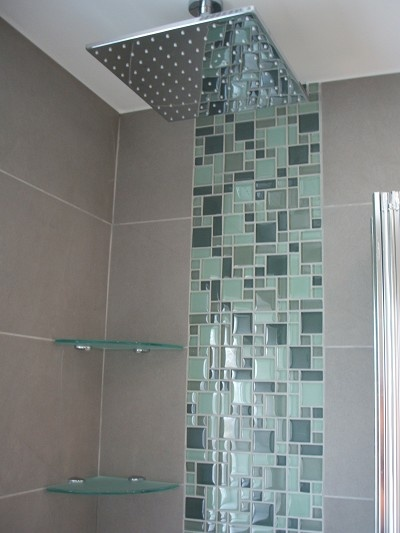Glass Tile and Grey Mosaic Design - Classy!