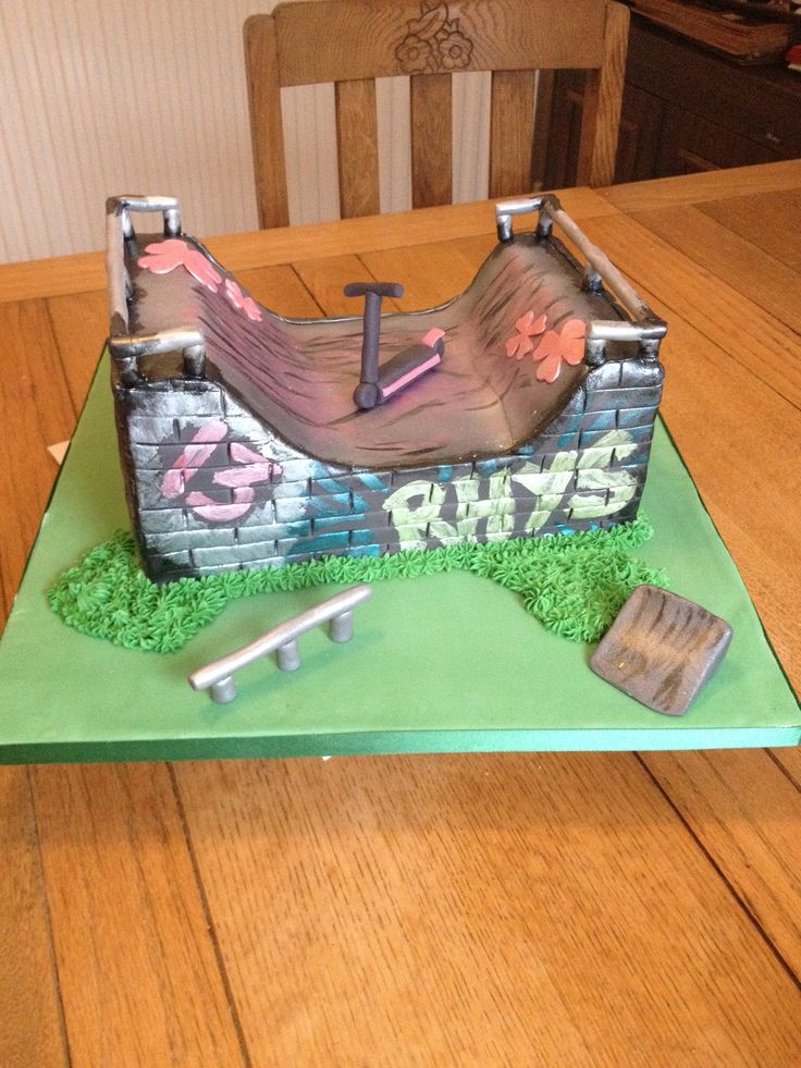 Skate ramp cake with scooter! Perfect for boys!