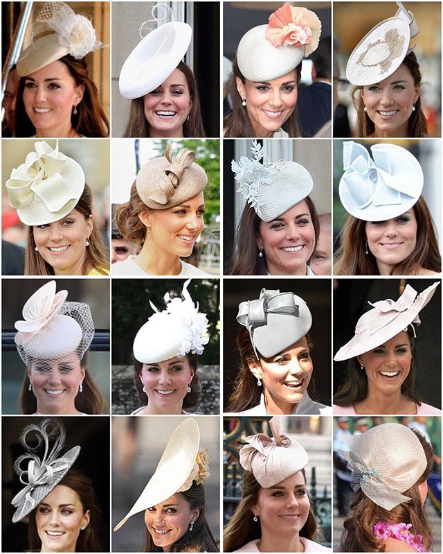 Kate's light coloured headpieces I'd love to see how she stores all of these! What I wouldn't give for a glimpse at her wardrobe..