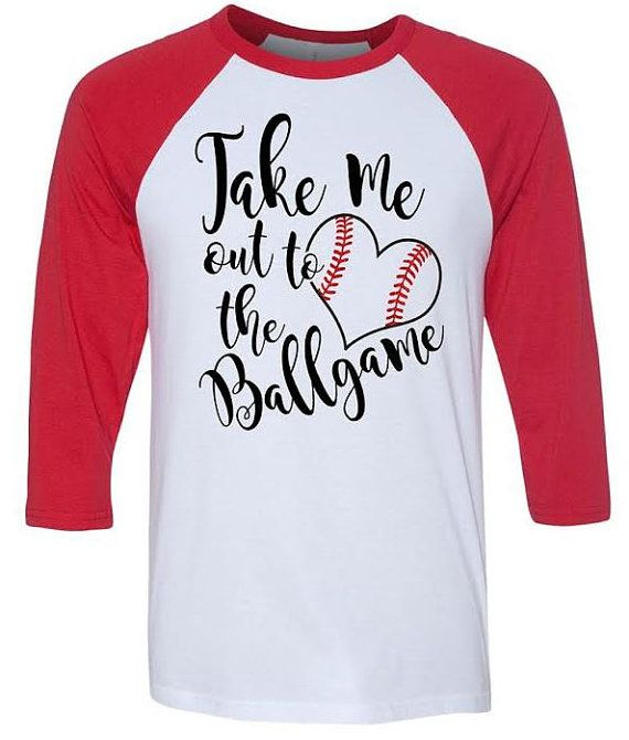 take me out to the ballgame baseball mom baseball girlfriend glitter red stitches length softstyle longer length baseball tees by - Baseball T Shirt Designs Ideas