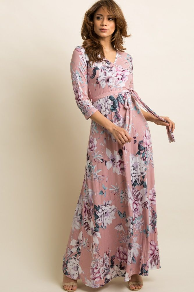 b88587cf746 Pink Floral Wrap Maxi Dress in 2019