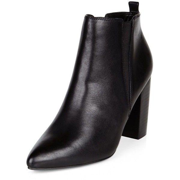 Black Leather Pointed Chelsea Boots (£40) ❤ liked on Polyvore featuring shoes, boots, ankle booties, black ankle booties, pointy toe ankle booties, leather boots, leather ankle booties and pointy toe booties