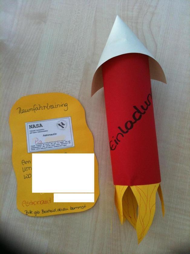 2 X Einladungskarte Geburtstag   Rakete Raumfahrer