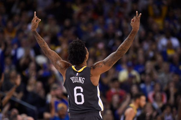 Golden State Warriors' Nick Young (6) gestures after teammate Stephen Curry (30) scores a three-point basket against the New Orleans Pelicans during the third quarter of their NBA game at the Oracle Arena in Oakland, Calif. on Saturday, Nov. 25, 2017. Golden State Warriors defeated the New Orleans Pelicans 110-95. (Jose Carlos Fajardo/Bay Area News Group)