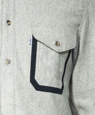 I like the contrast pocket detail. Depending on how you construct it, you could have a double pocket with one flap.