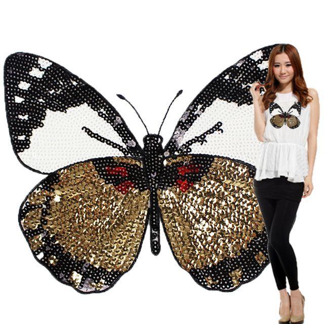 Мода Большая Бабочка Патч Футболка Брюки Блестки Ironning На Заплате Швейные Отверстия Аппликация Одежда Декоративные Аксессуары