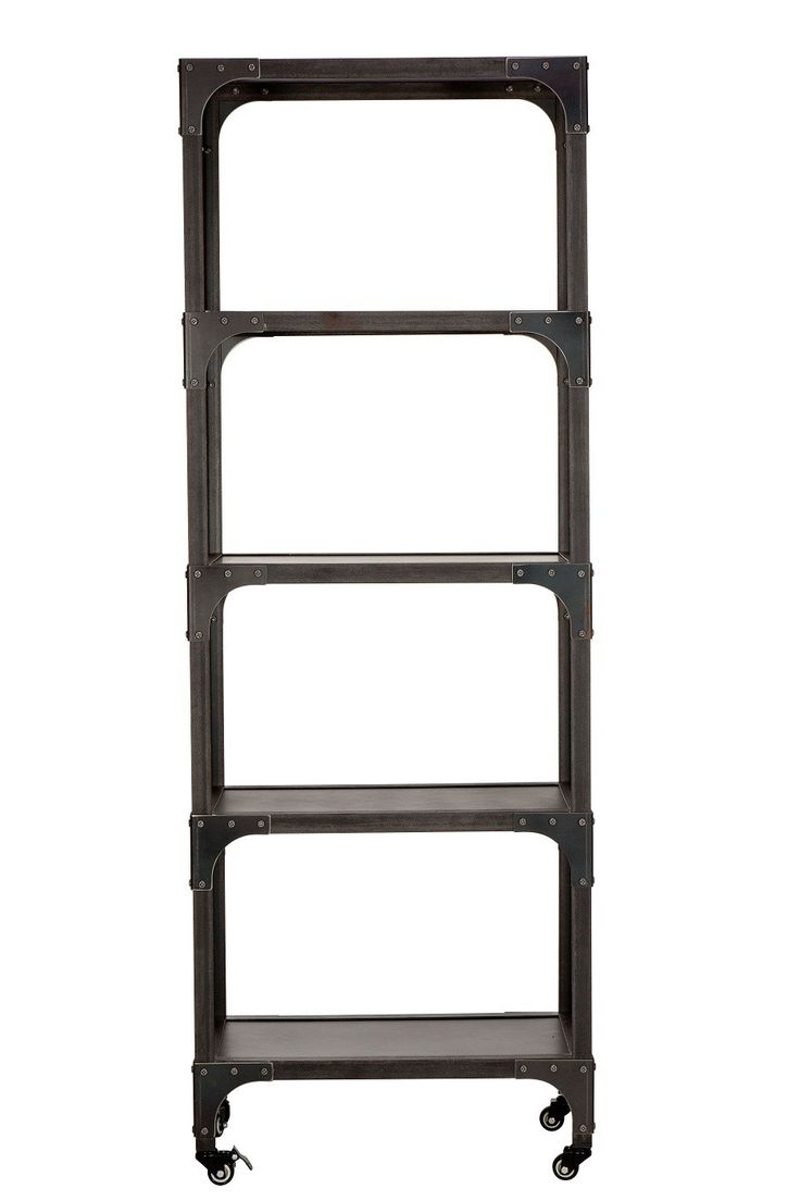 Industrial Bookshelf -- This Industrial Bookshelf has a raw, iron feel which screams of industrial revolutions and a time long past.  This classic French vintage industrial shelf is constructed of solid steel with four useful shelves, and makes an ideal bookshelf.  The raw look will work seamlessly with a variety of decor styles in either home or commercial settings.  The industrial bookshelf comes complete with castors to make this shelving unit easy to manoeuvre, there are wheel locks on…