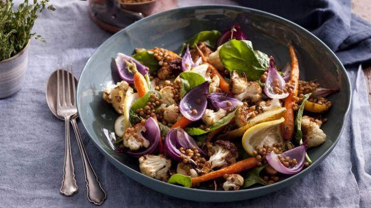 Warm roast veggie salad with lemony lentils