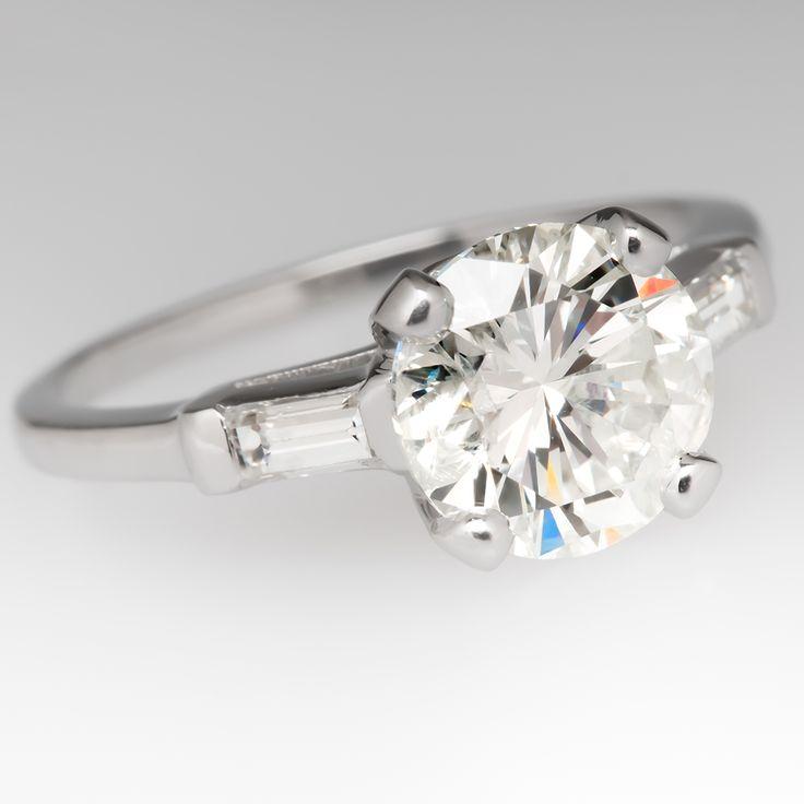 2 Carat Diamond Timeless Vintage Engagement Ring Platinum