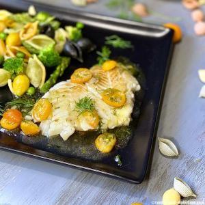 Flétan sauce Kumquat et salade de Conchiglie en 2020