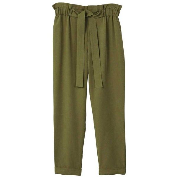 MANGO Soft cord trousers ($60) ❤ liked on Polyvore featuring pants, khaki, zipper pants, cord trousers, straight pants, ruched pants and brown khaki pants