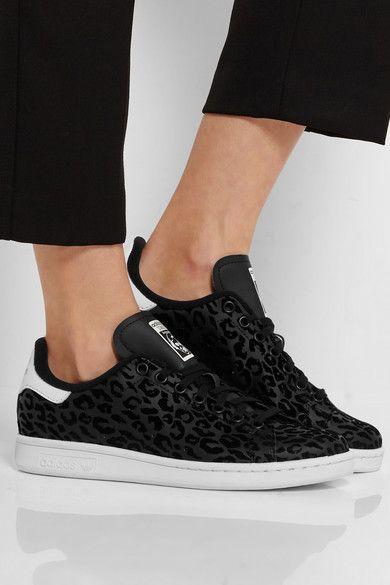 Adidas Originals | Stan Smith flocked leather sneakers | NET-A-PORTER.COM