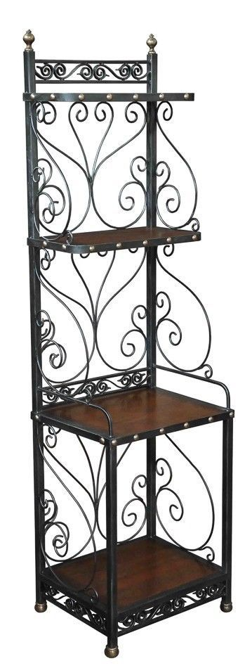 "Baker Rack Old Wood & Iron French Walnut Tall 73"" Narrow 21""  New Free shipping #rt"