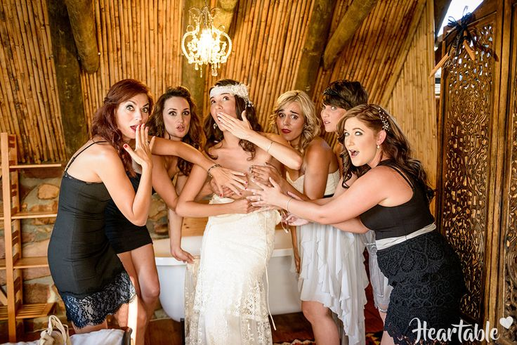 Black and grey bridesmaids dresses, boho bride, fun photo, garden…