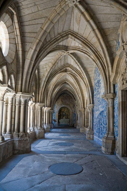 Azulejo tiles decorate the wall of Porto Cathedral, Porto, Portugal - by KimWalker