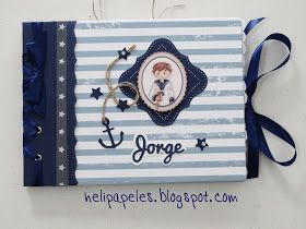 Hola!   Hoy quiero compartir otro libro de firmas que hice para comunión de niño con papeles de Dayka y cartulinas azul almirante.  Para la...