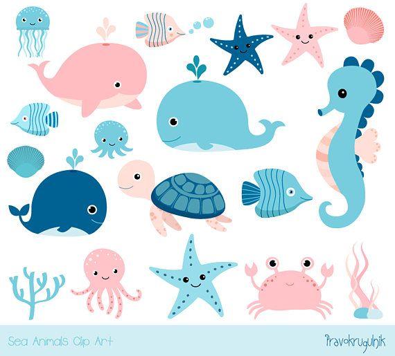 Cute Sea Animal Clipart Kawaii Ocean Clipart Baby Girl Etsy In 2021 Baby Clip Art Animal Clipart Sea Clipart