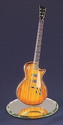 "Glass Baron ~ Classic Woodgrain Guitar ~ 22 kt gold trim & Crystal Gems ~ 5.75"""
