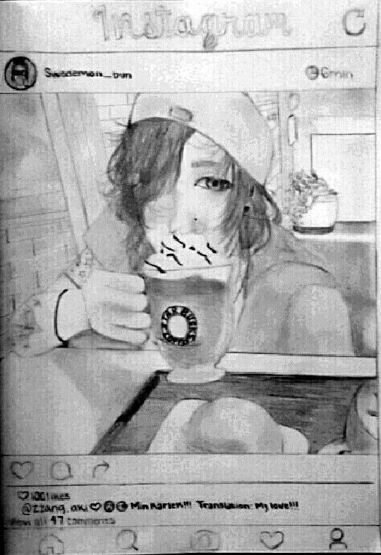 This is my first drawing post. I wanted to start doing social media profiles for my OCs so any profiles irl with the usernames I made are just a coincidence.   This is Zzang Aki (@zzang.aki), boyfriend of Viktår Nil (@swedemon_bun). Vik decided to snap a photo of his cutie on their coffee date at Starbucks.   Description: @zzang.aki ❤ Min kärlek!!! (Translation: My love!!!)   Aki replied:    ART BY SEI SUNI. DO NOT POST, REPOST, OR SHARE ANYWHERE WITHOUT CREDITING.